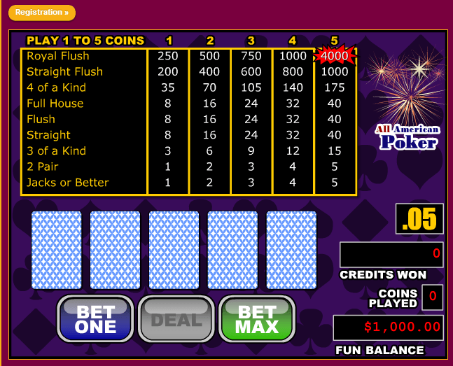 Play All American Poker Free Now