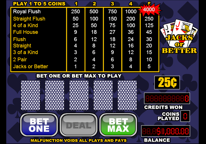 Play Jacks or Better Poker Free Now