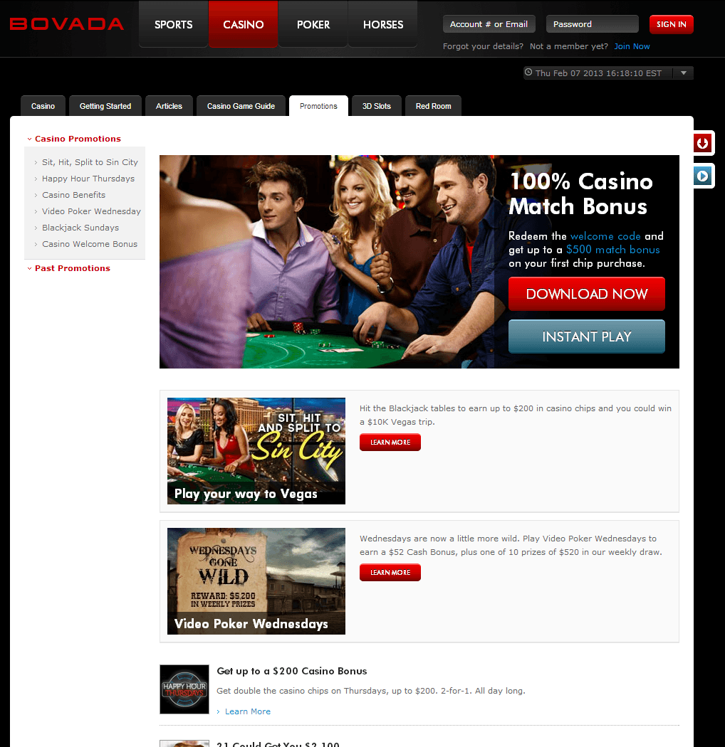 Bovada Casino Promotions Page