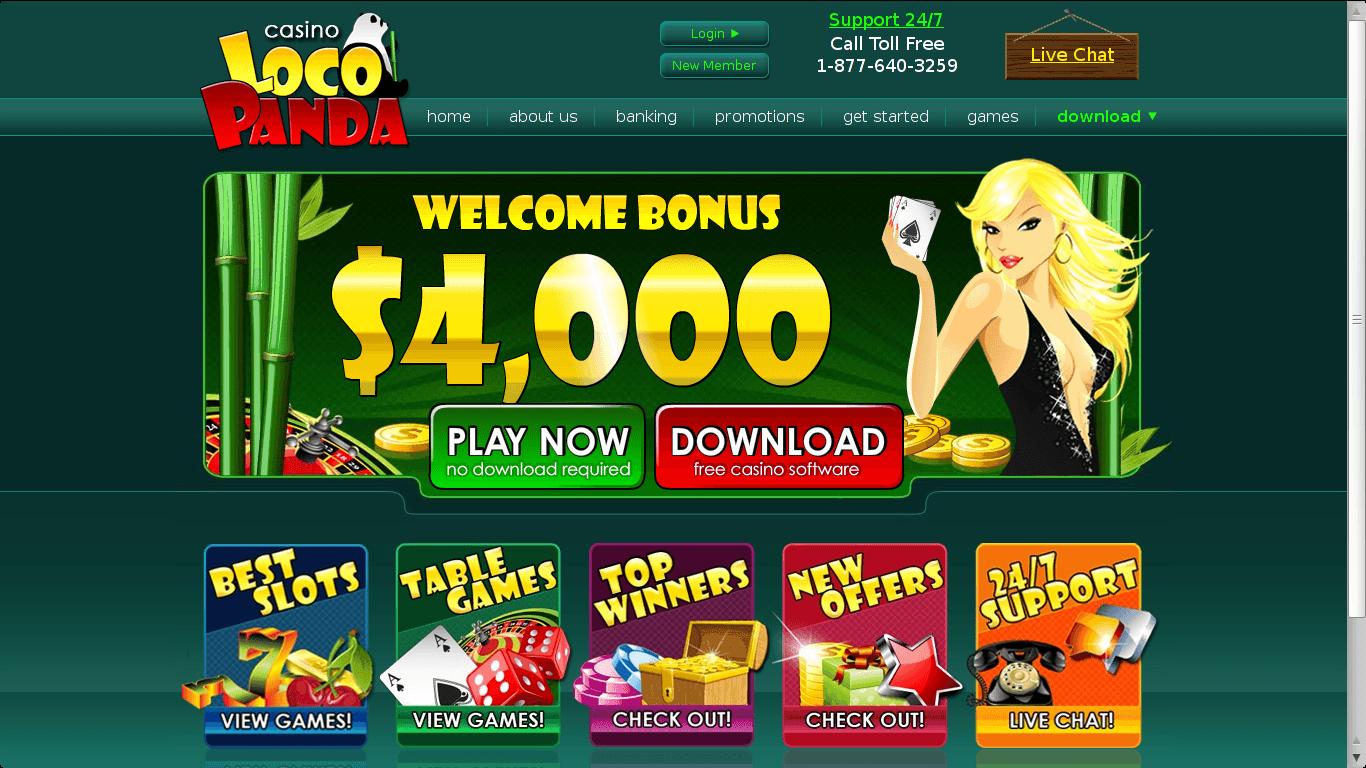 Loco Panda Casino Homepage