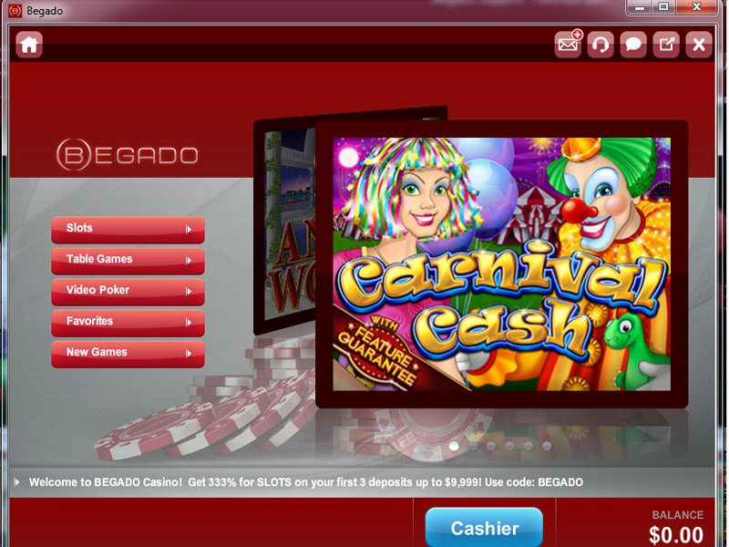 Begado Casino Main Menu