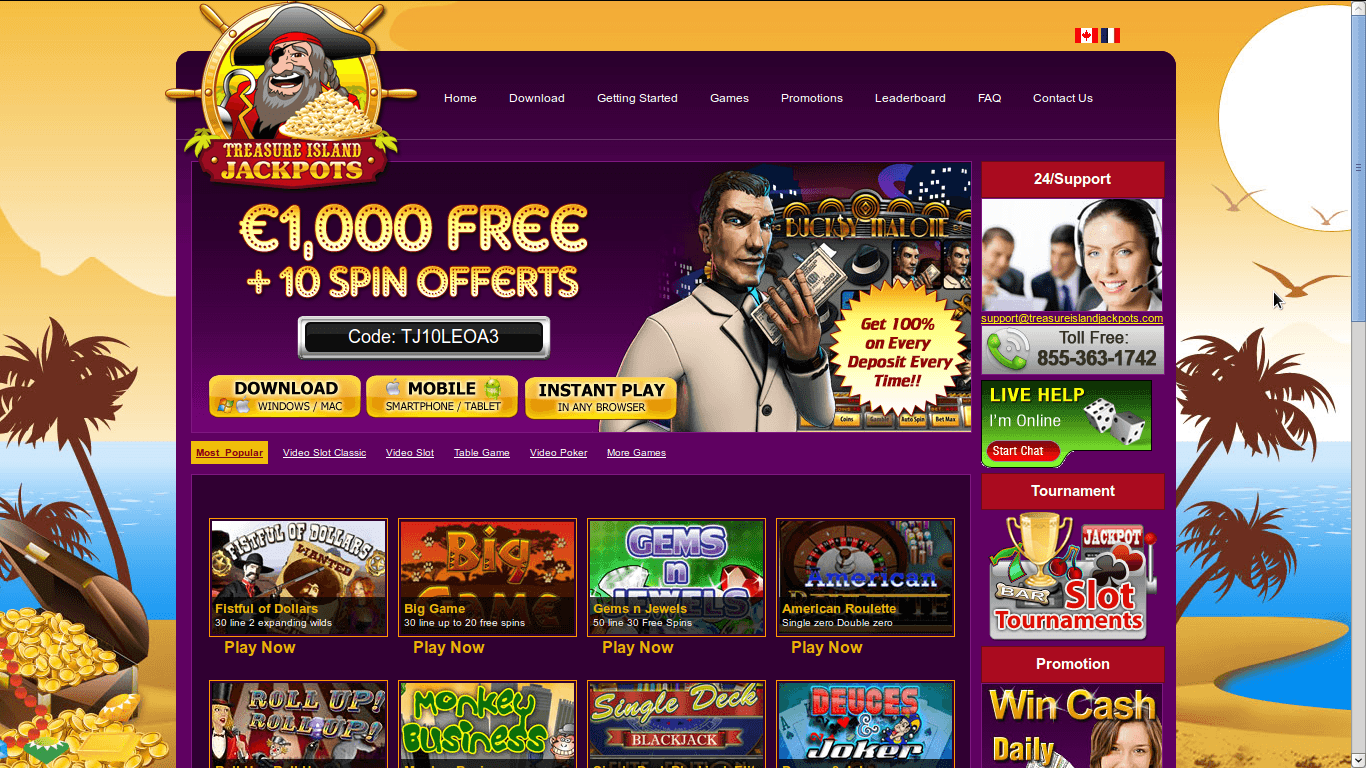 Treasure Island Jackpot Casino Homepage
