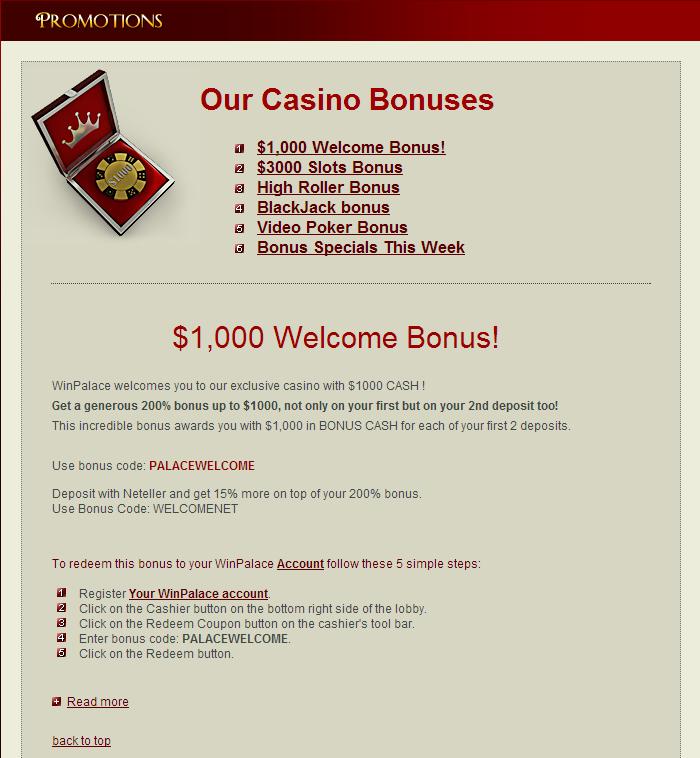 Winpalace casino bonus codes 2013 wallace casino 108 piece flatware set