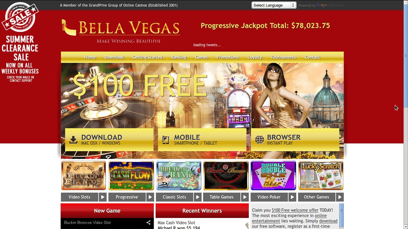 Bella Vegas Casino Homepage
