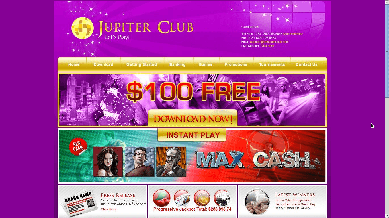 Jupiter Club Casino Homepage