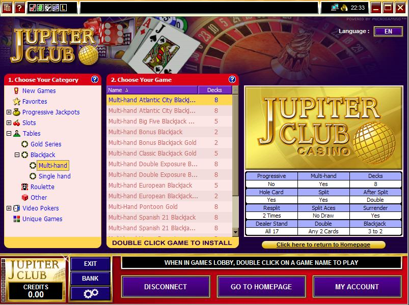 Jupiter Club Casino Software
