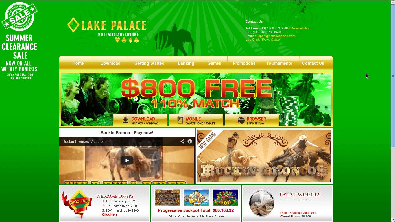 Lake Palace Casino Homepage