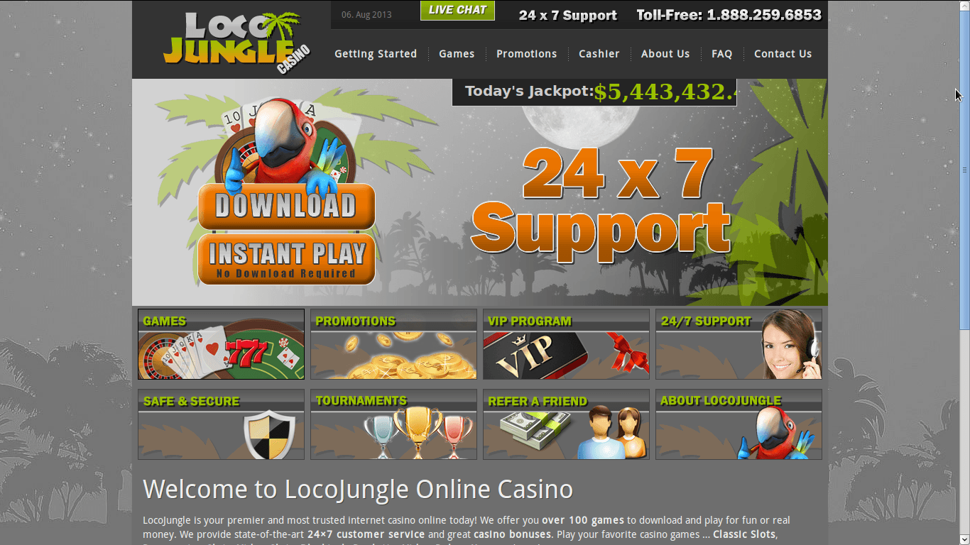 Loco Jungle Casino Homepage