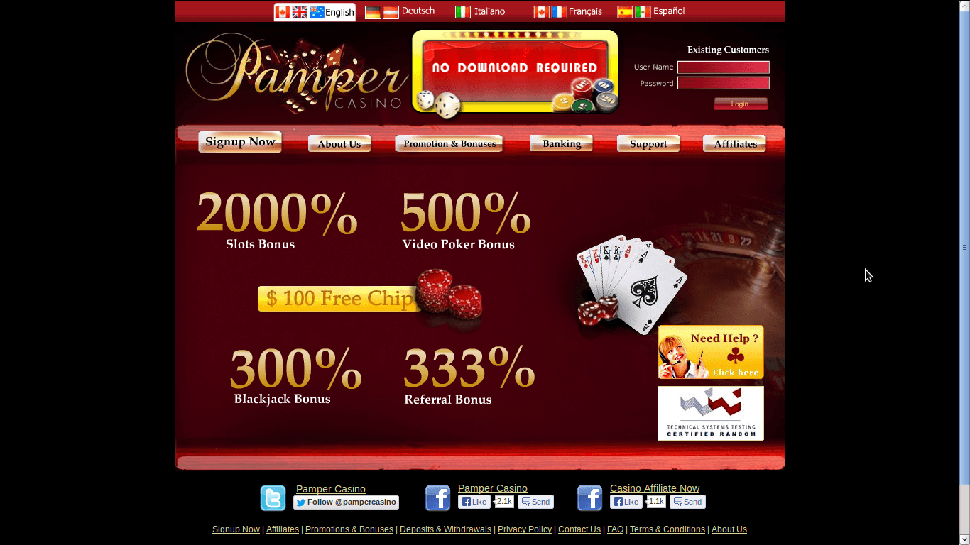 Pamper Casino Homepage