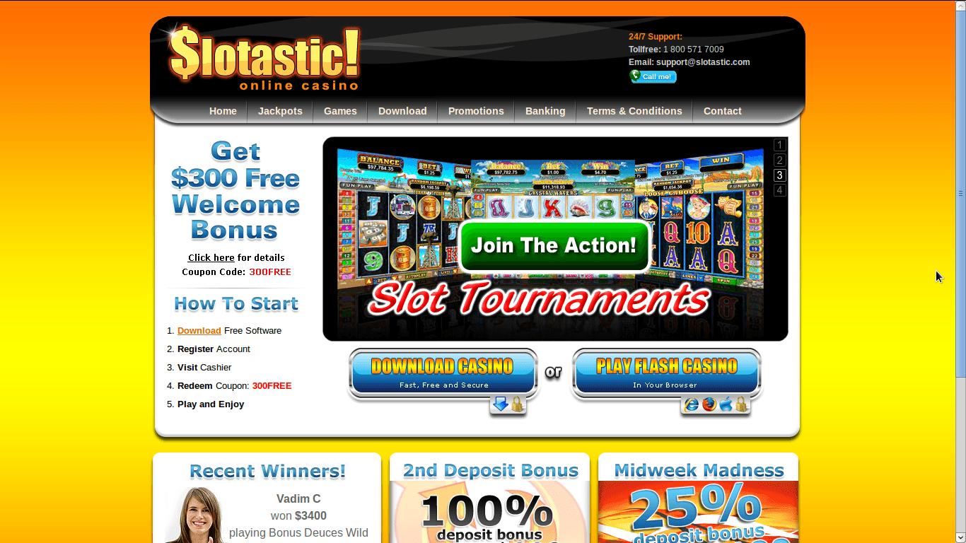 Slotastic Casino Homepage