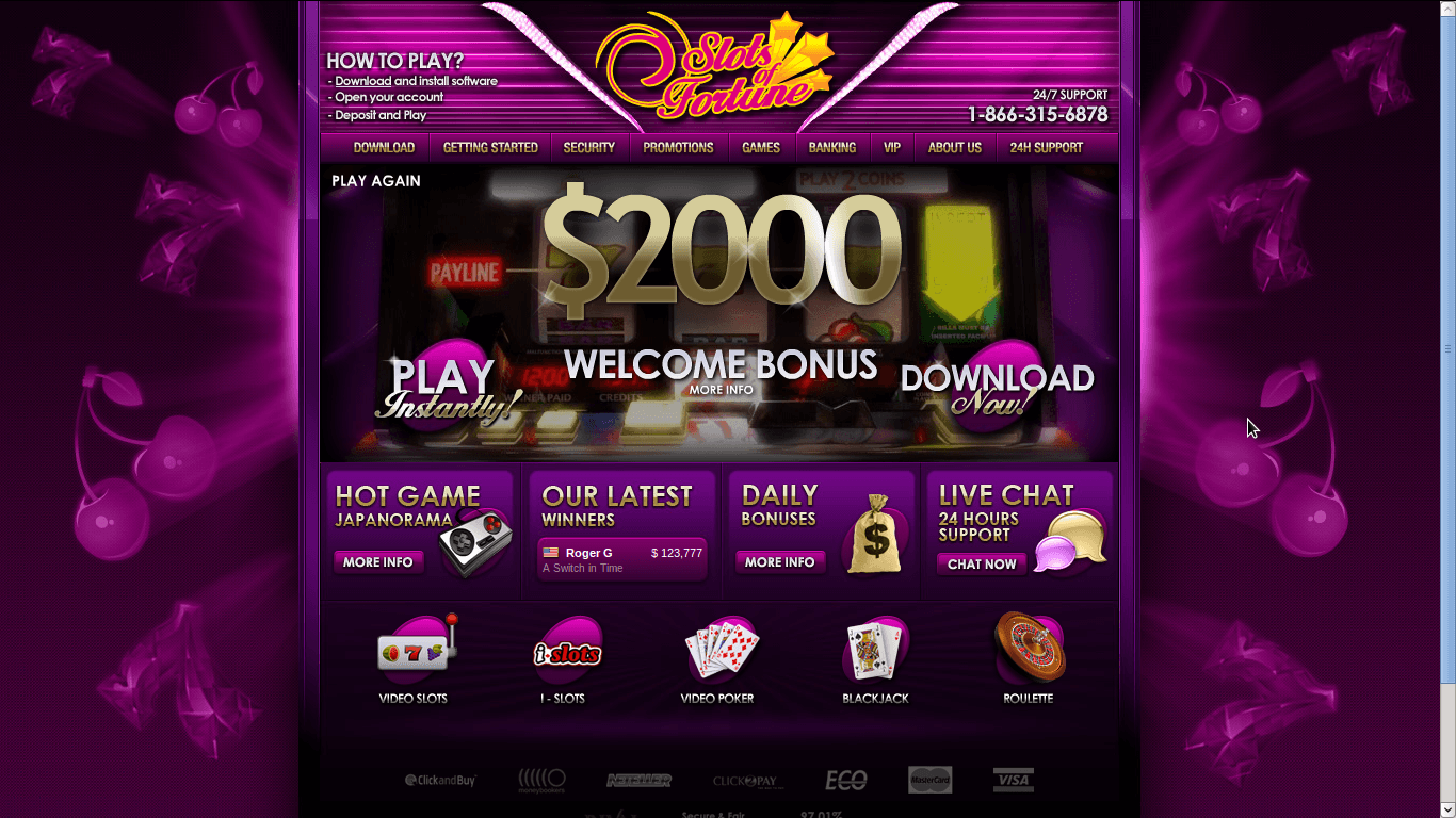 Slots of Fortune Casino Homepage