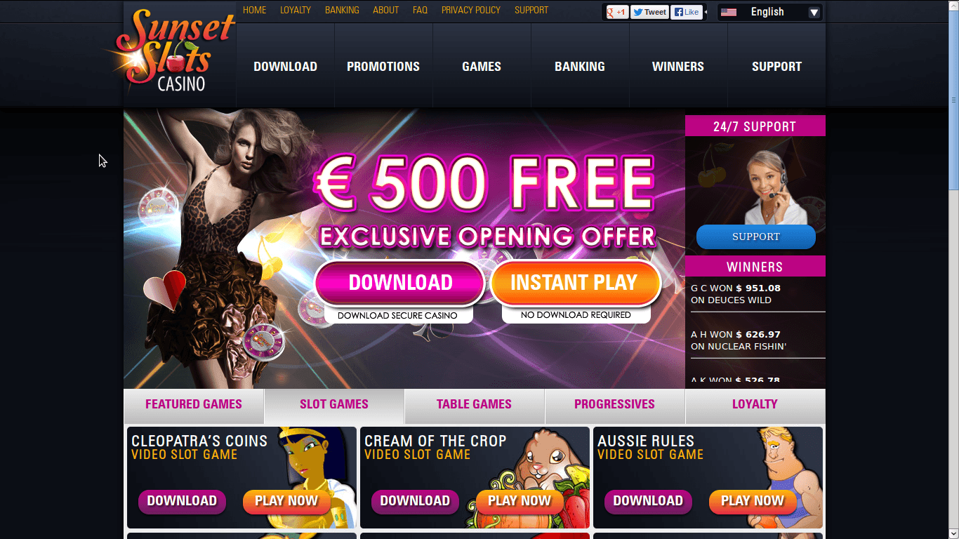 Sunset Slots Casino Homepage